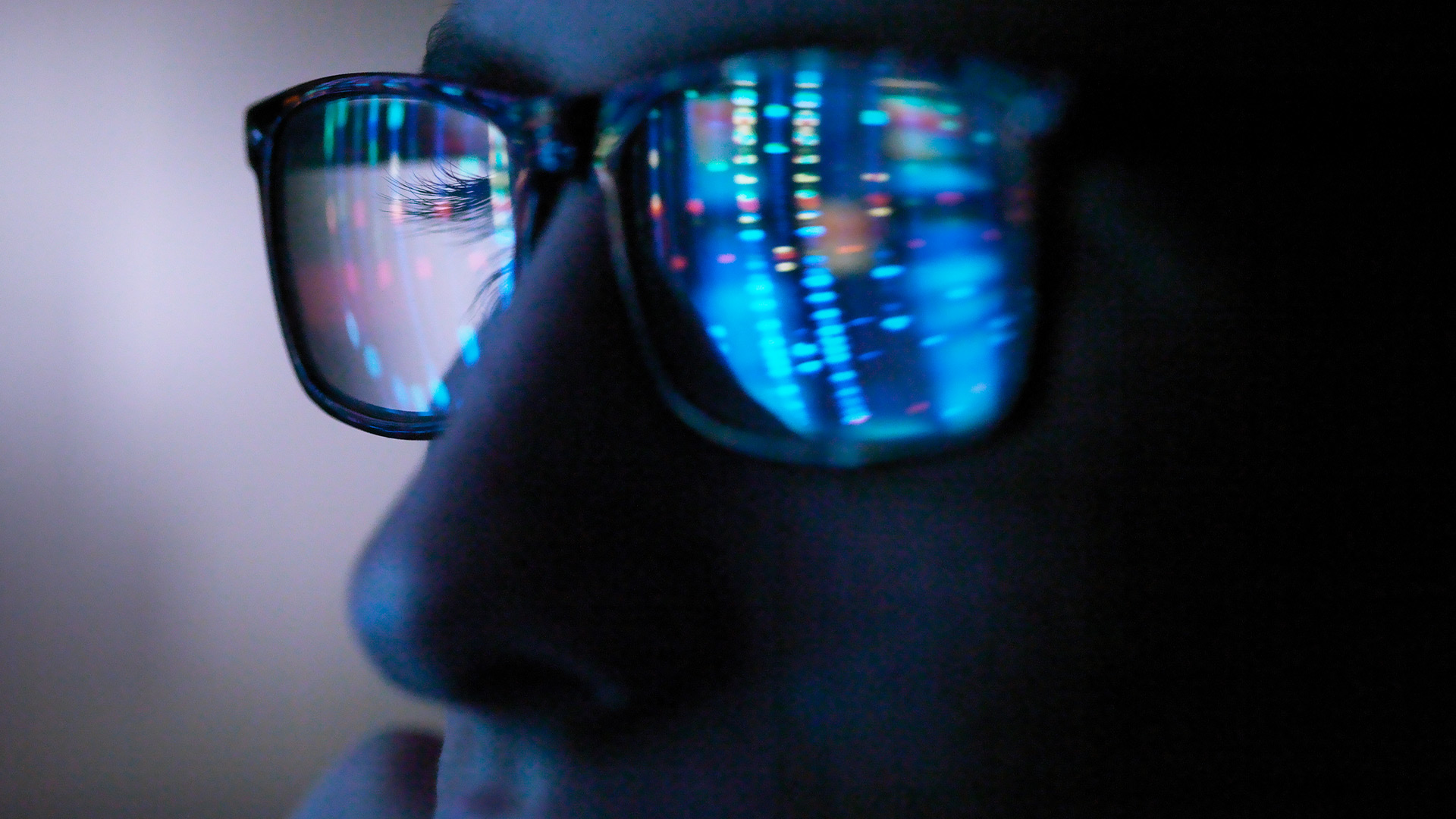 Reflection of computer on glasses